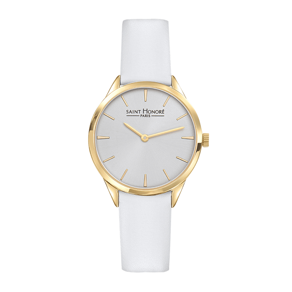 ALLURE Montre femme - Finition or jaune, bracelet cuir blanc