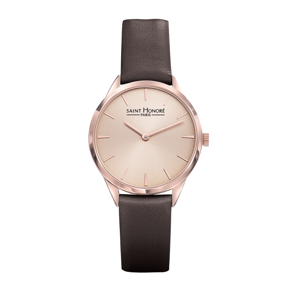 ALLURE Montre femme - Champagne rosé, finition or rose, bracelet cuir marron