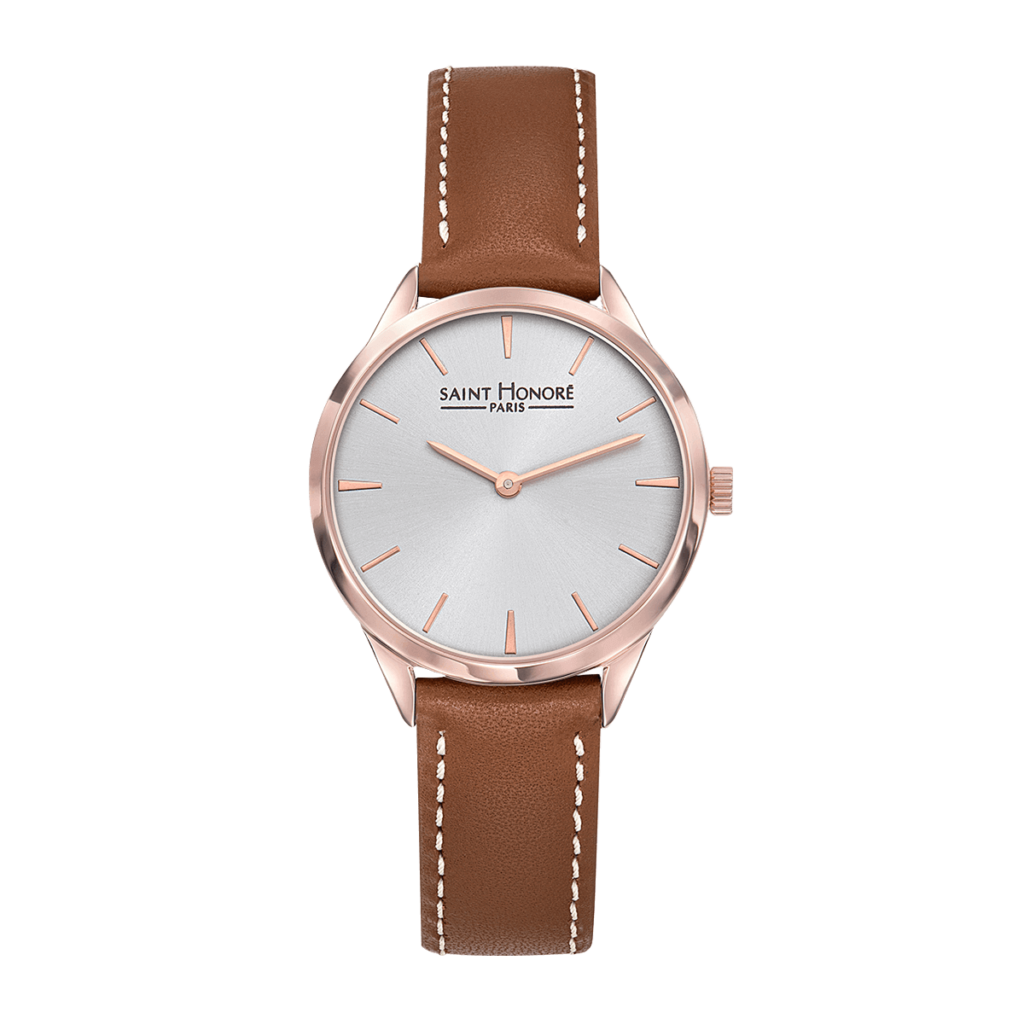 ALLURE Montre femme - Finition or rose, bracelet cuir marron