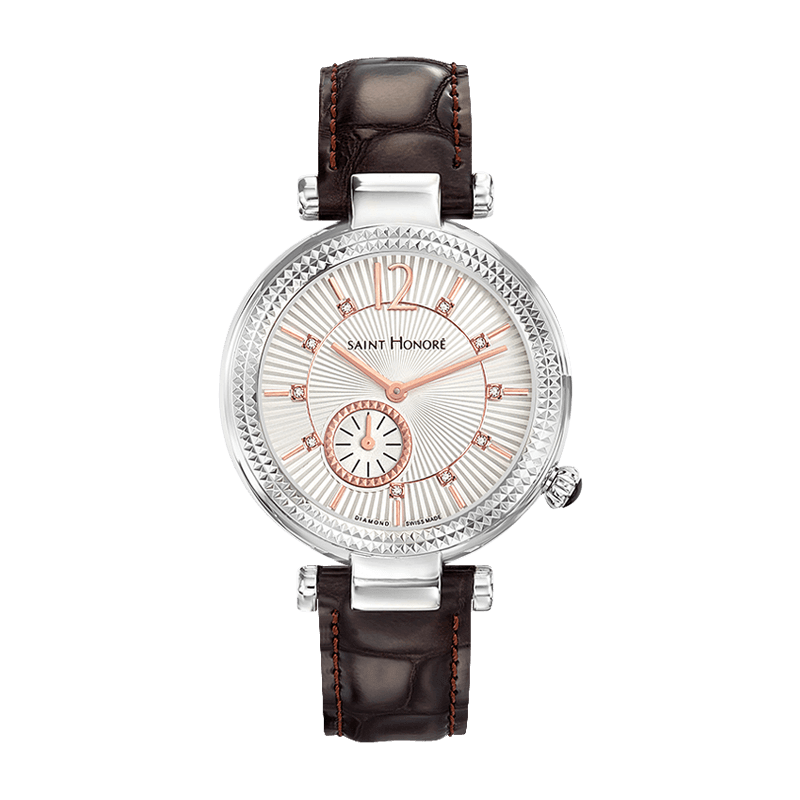 AUDACY Montre femme - Cadran diamants, bracelet cuir marron