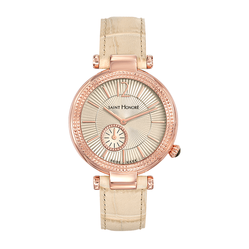AUDACY Women's watch - Champagne dial, beige leather strap