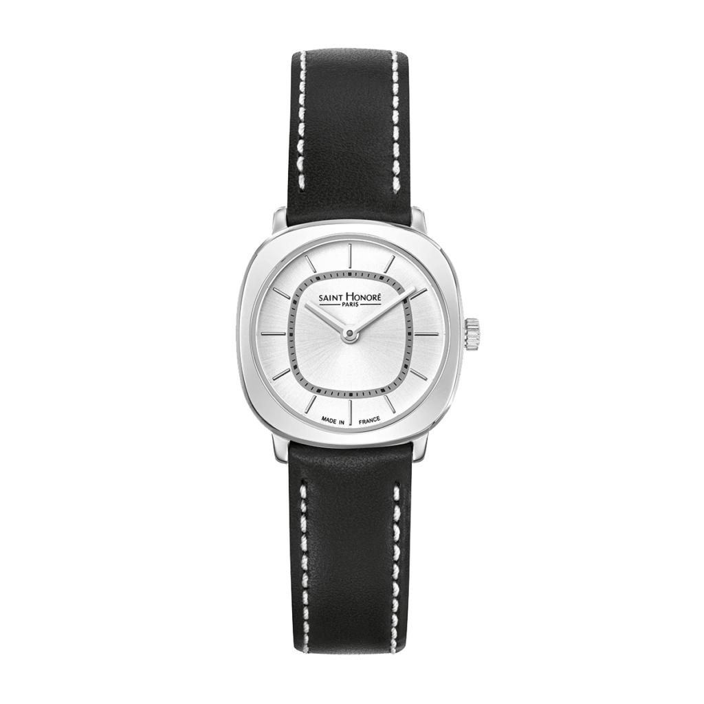 AUTEUIL Women's watch - Stainless steel case, black leather strap