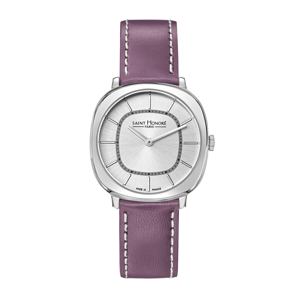 AUTEUIL Women's watch - Stainless steel case, purple leather strap