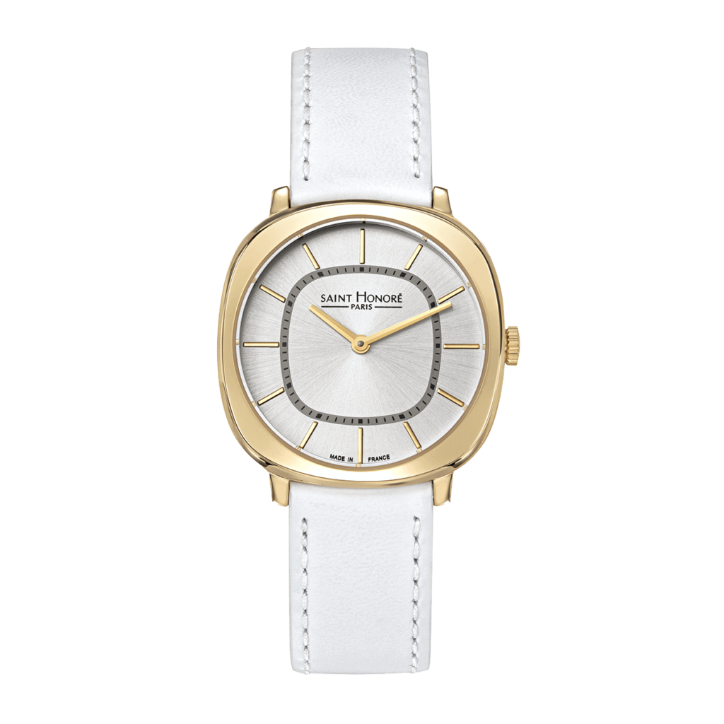 AUTEUIL Women's watch - Yellow gold finish case, white leather strap