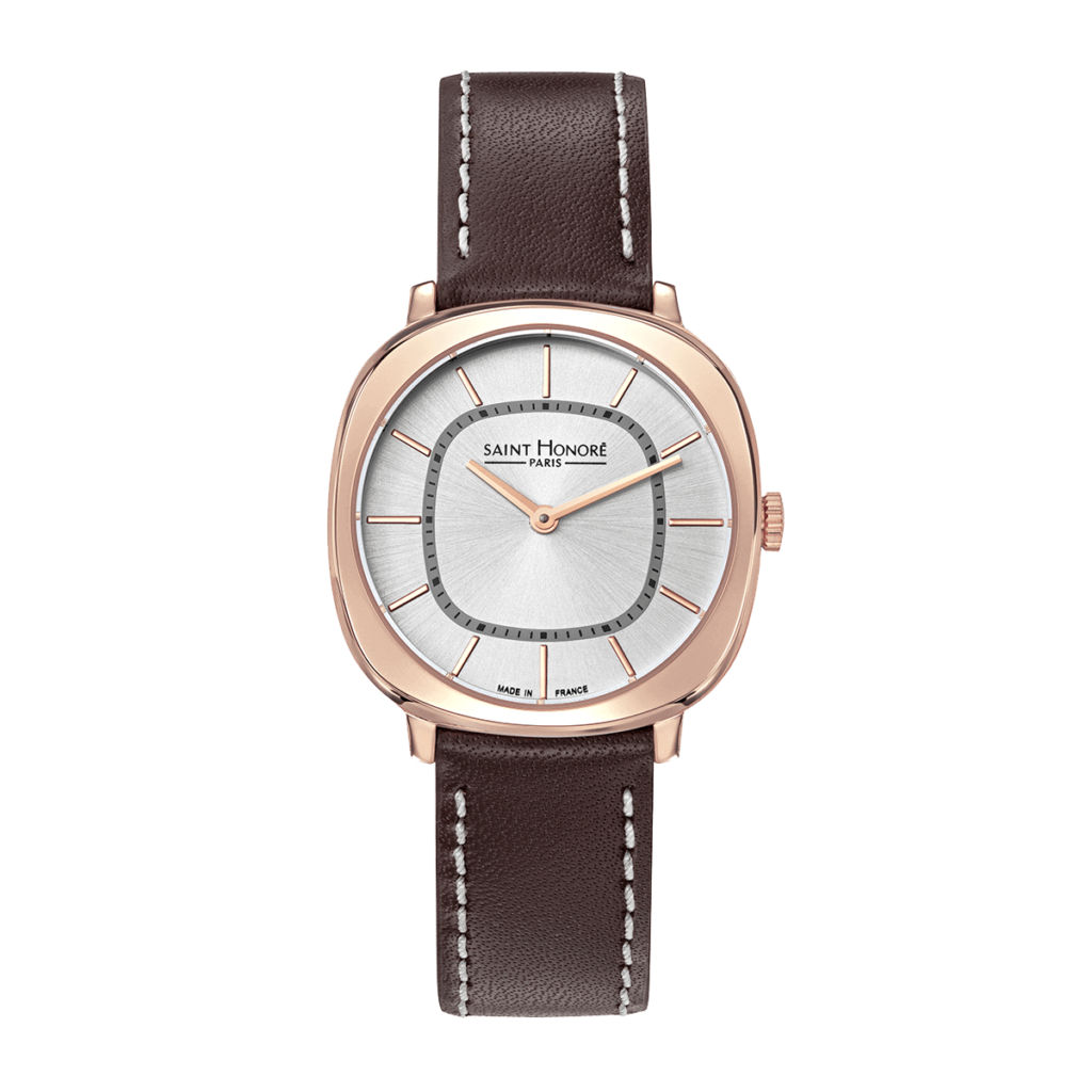AUTEUIL Montre femme - Finition or rose, bracelet cuir marron