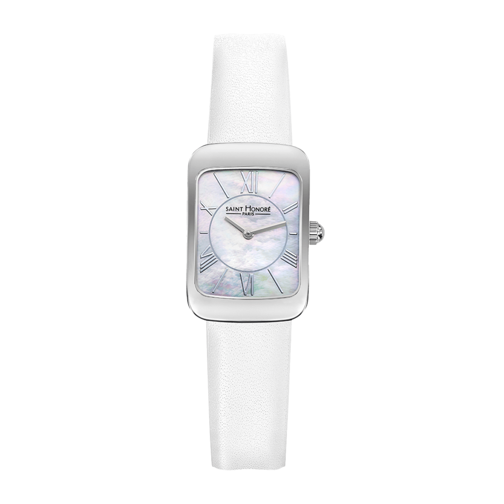 ENJOY Women's watch - Stainless steel case, mother-of-pearl dial, white leather strap