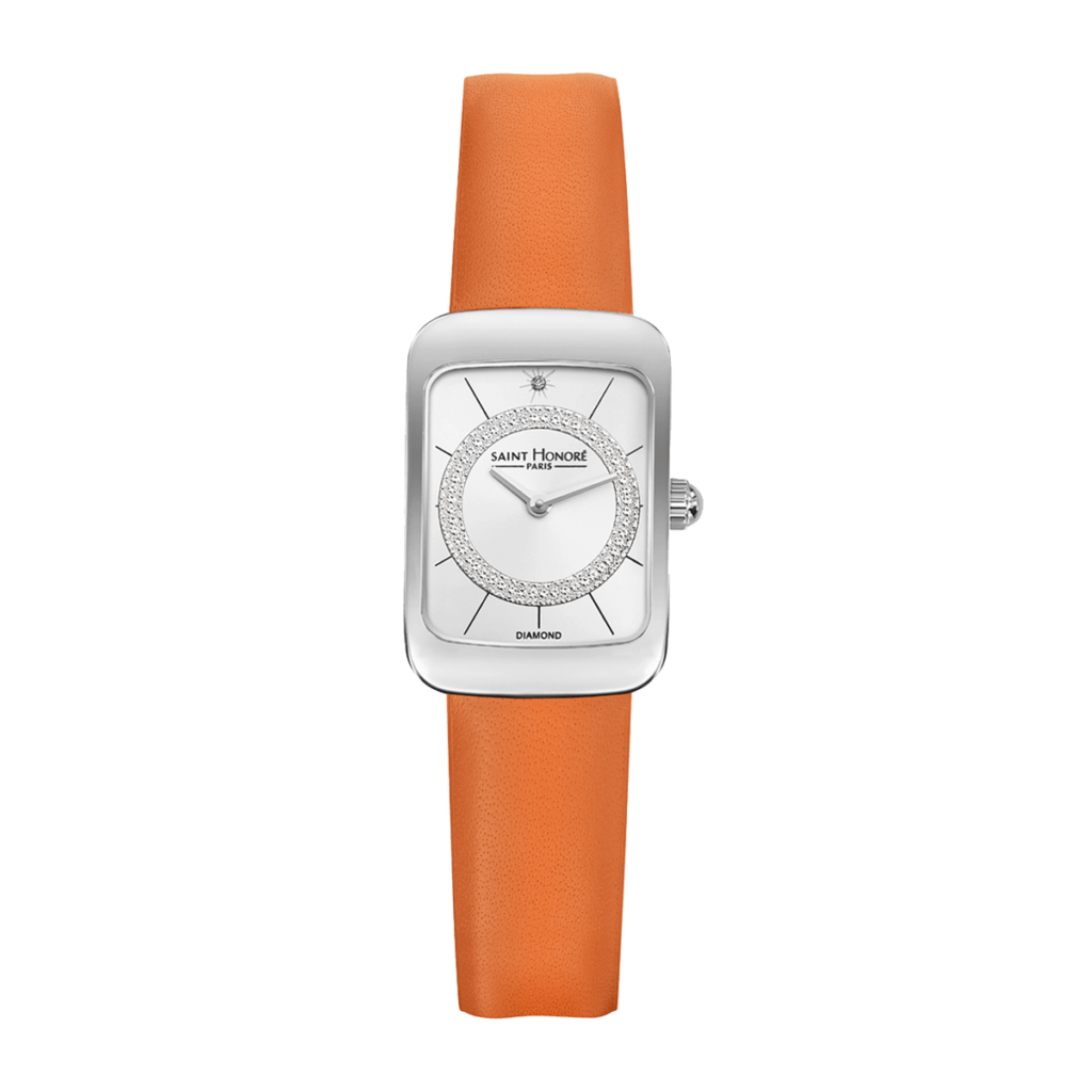 ENJOY Montre femme - Effet diamant, bracelet cuir orange