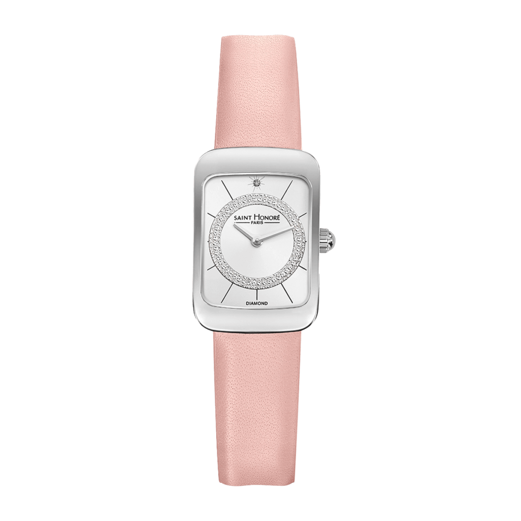 ENJOY Women's watch - Stainless steel case, diamond effect dial, pink leather strap