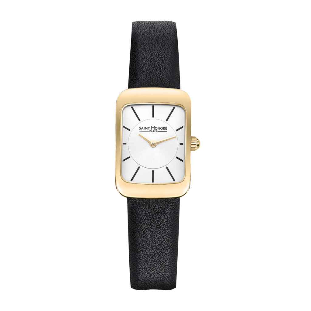 ENJOY Montre femme - Finition or jaune, bracelet cuir noir