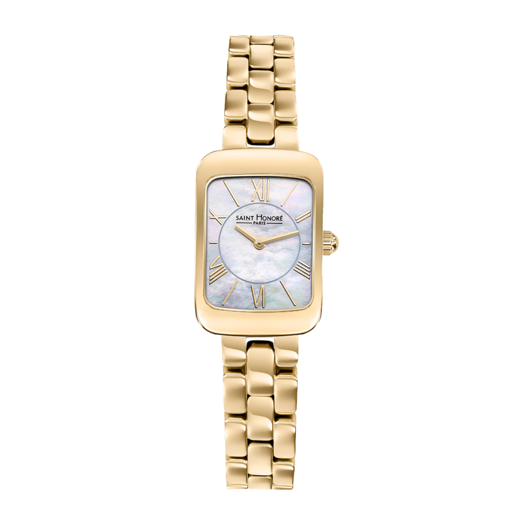 ENJOY Montre femme - Cadran nacre, bracelet métal finition or jaune