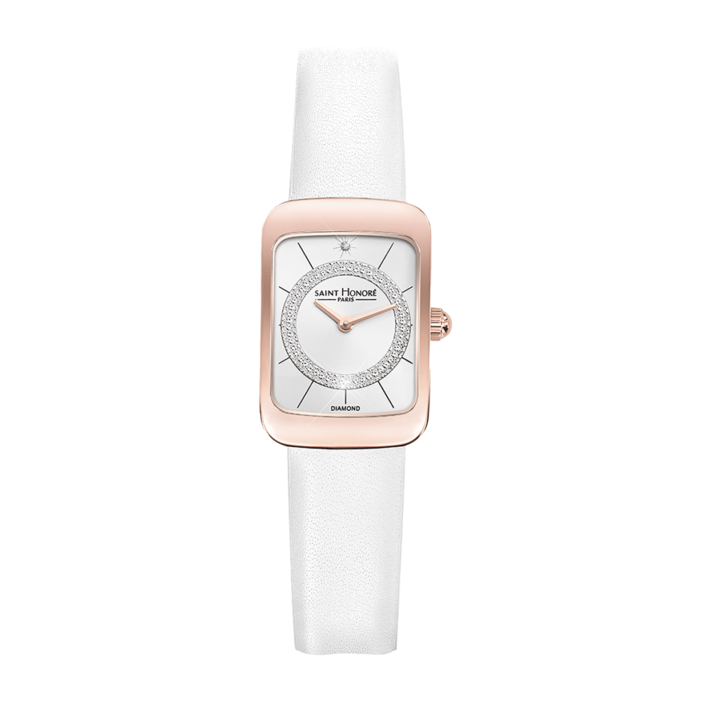 ENJOY Montre femme - Finition or rose, effet diamant, bracelet cuir blanc