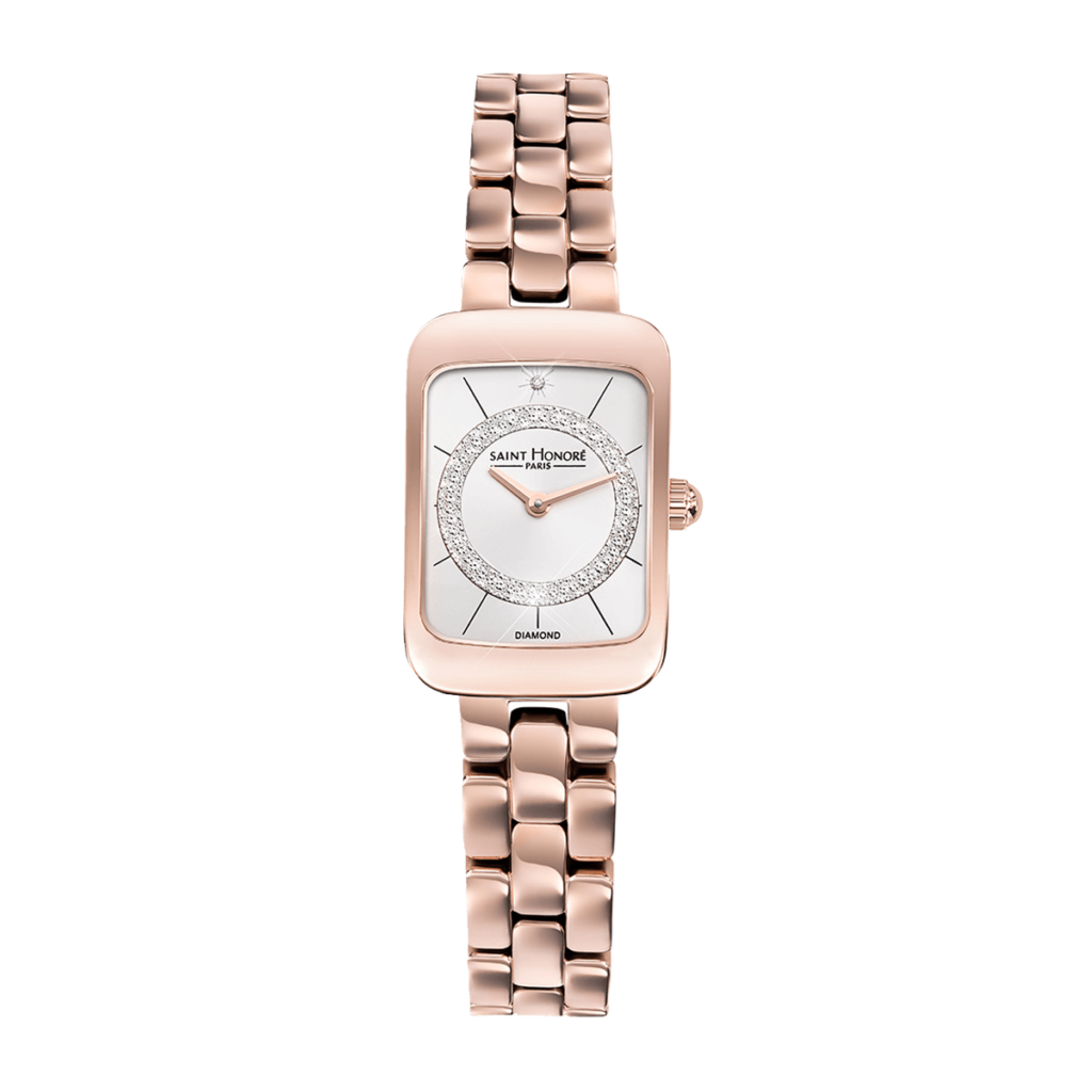 ENJOY Montre femme - Effet diamant, bracelet métal finition or rose