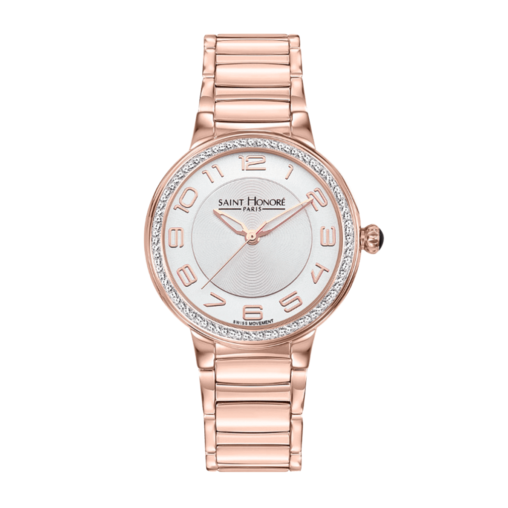 LUTECIA Women's watch - Rose gold finish case and strap, diamond effect