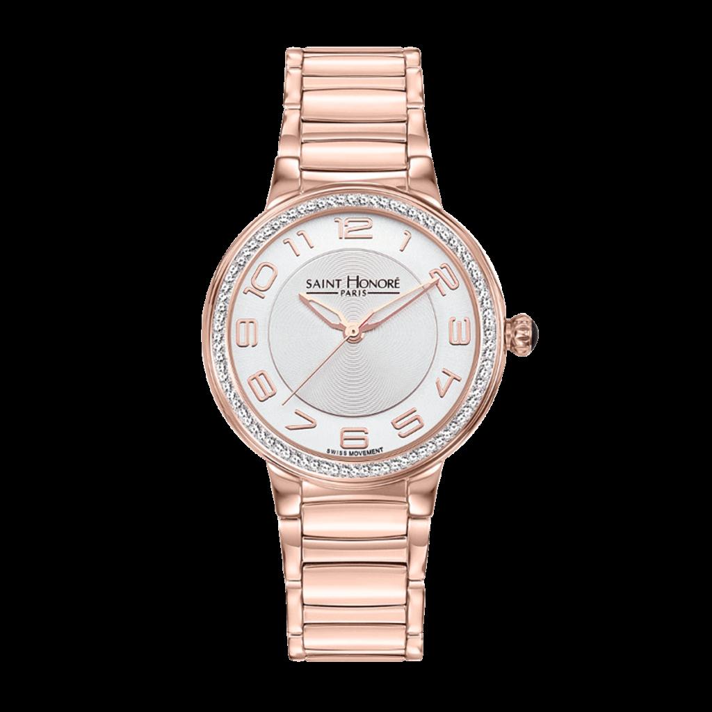 LUTECIA Montre femme - Boîtier et bracelet finition or rose, effet diamant