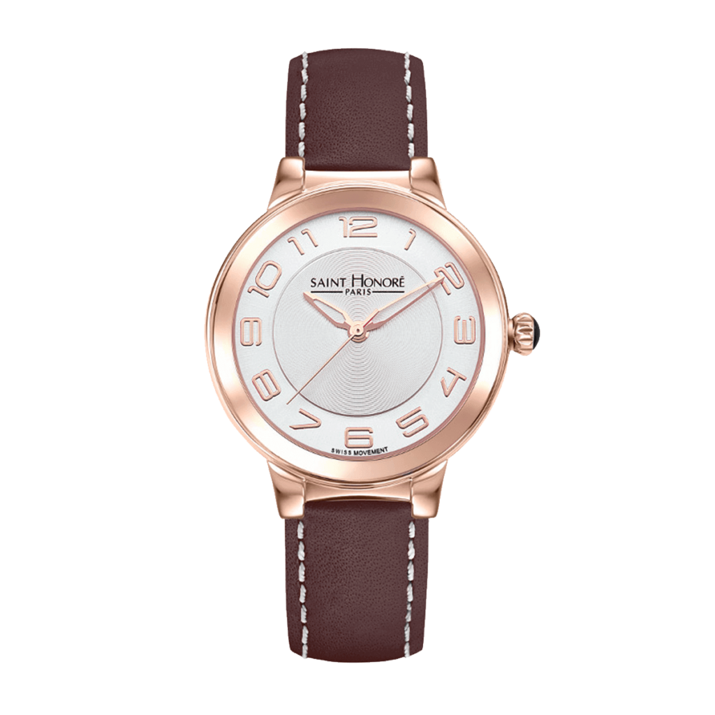LUTECIA Montre femme - Finition or rose, bracelet cuir marron
