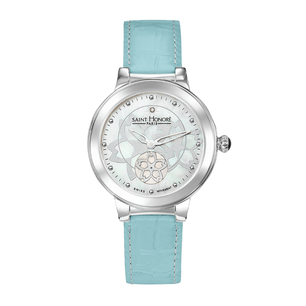 LUTECIA Women's watch - Flower, mother-of-pearl & diamond dial, blue leather strap