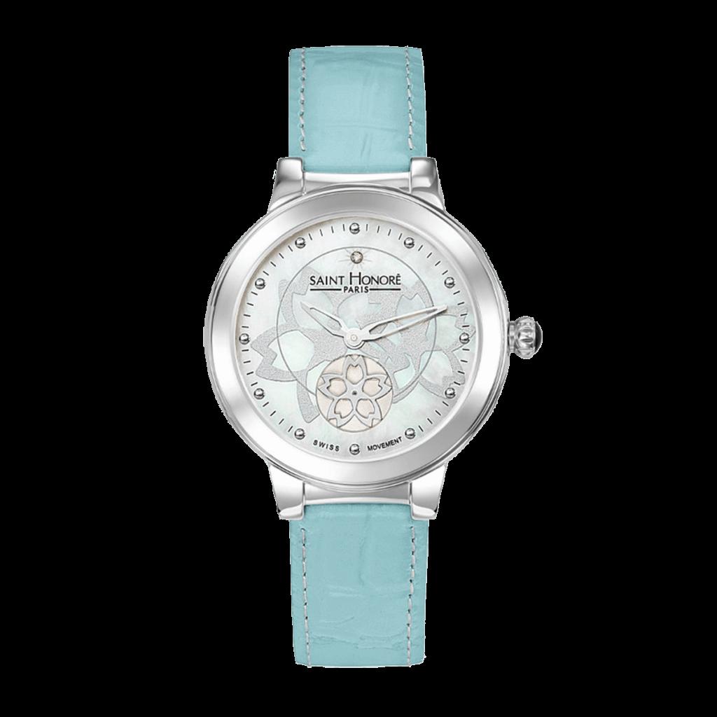 LUTECIA Montre femme - Cadran fleur, nacre & diamant, bracelet cuir bleu