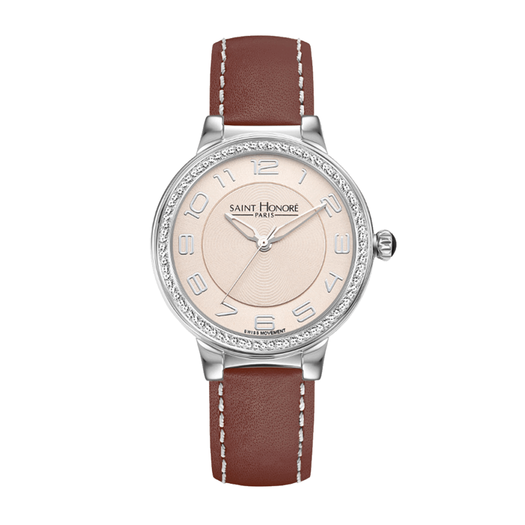 LUTECIA Women's watch - Diamond effect, champagne dial, brown leather strap