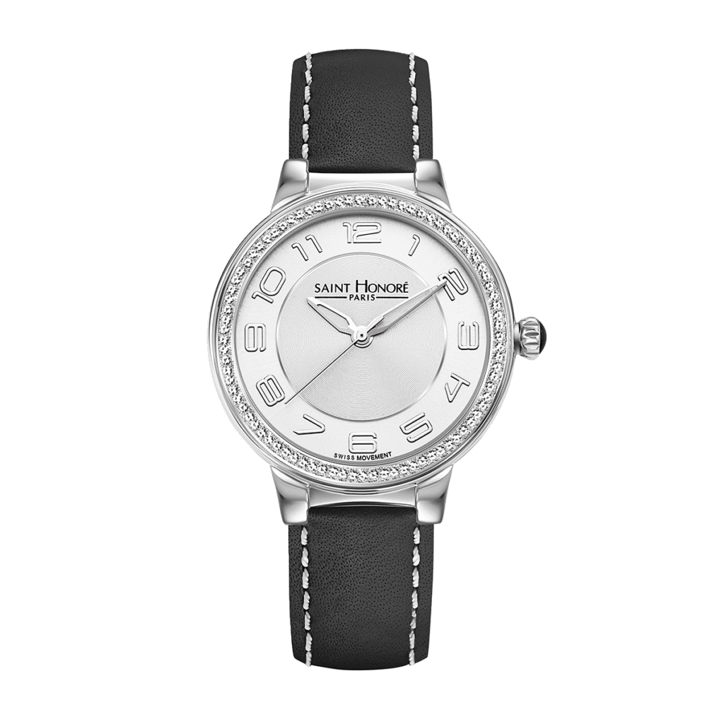 LUTECIA Women's watch - Stainless steel case, diamond effect, black leather strap