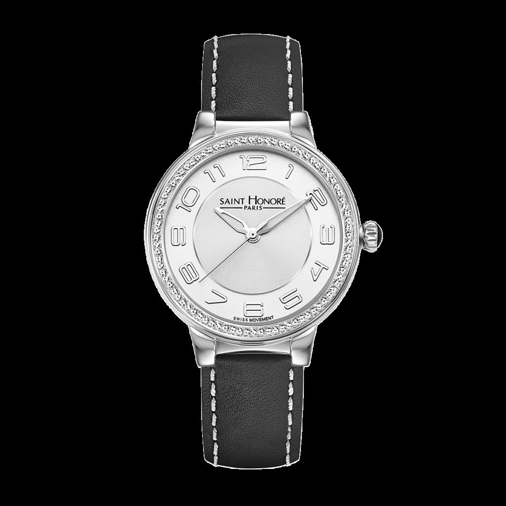 LUTECIA Montre femme - Boîtier acier, effet diamant, bracelet cuir noir