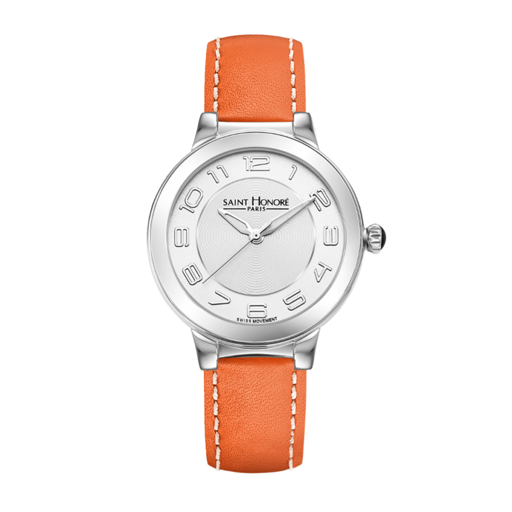 LUTECIA Women's watch - Stainless steel case, orange leather strap