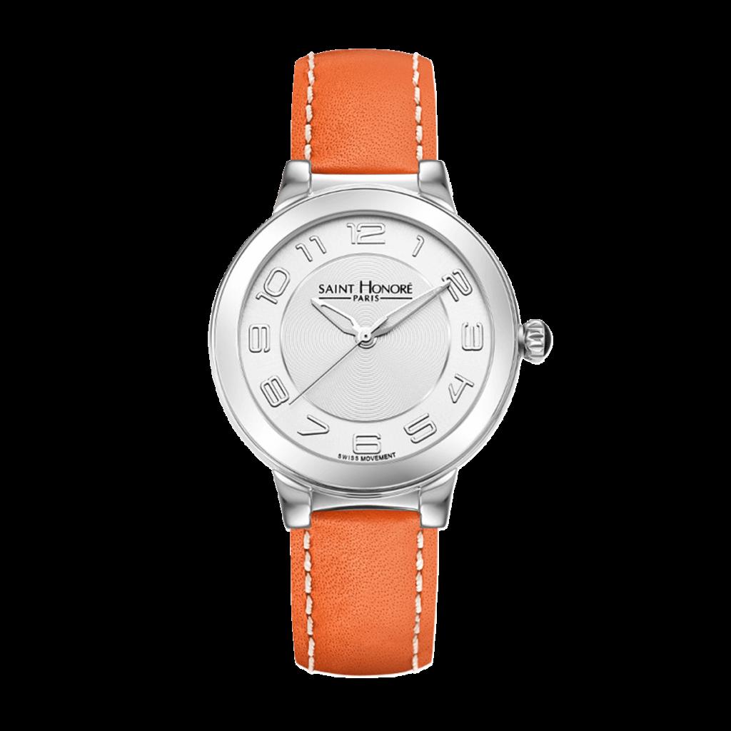 LUTECIA Montre femme - Boîtier acier, bracelet cuir orange