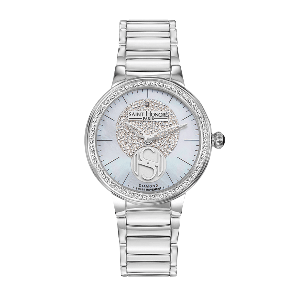 LUTECIA Montre femme - Cadran nacre & diamant, bracelet métal