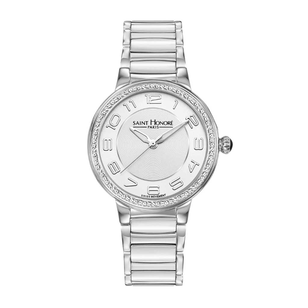 LUTECIA Women's watch - Stainless steel case, diamond effect, metal strap