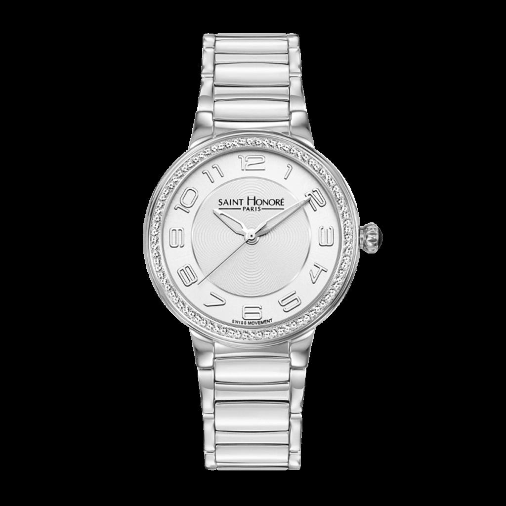 LUTECIA Montre femme - Boîtier acier, effet diamant, bracelet métal