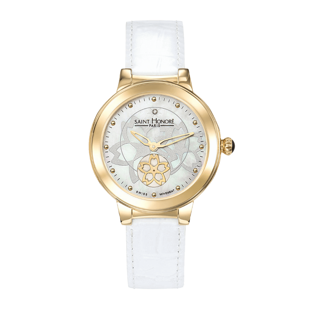 LUTECIA Women's watch - Flower, mother-of-pearl & diamond dial, white leather strap