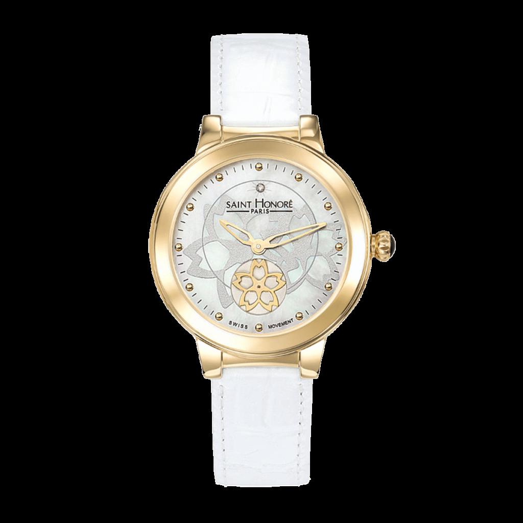 LUTECIA Montre femme - Cadran fleur, nacre & diamant, bracelet cuir blanc