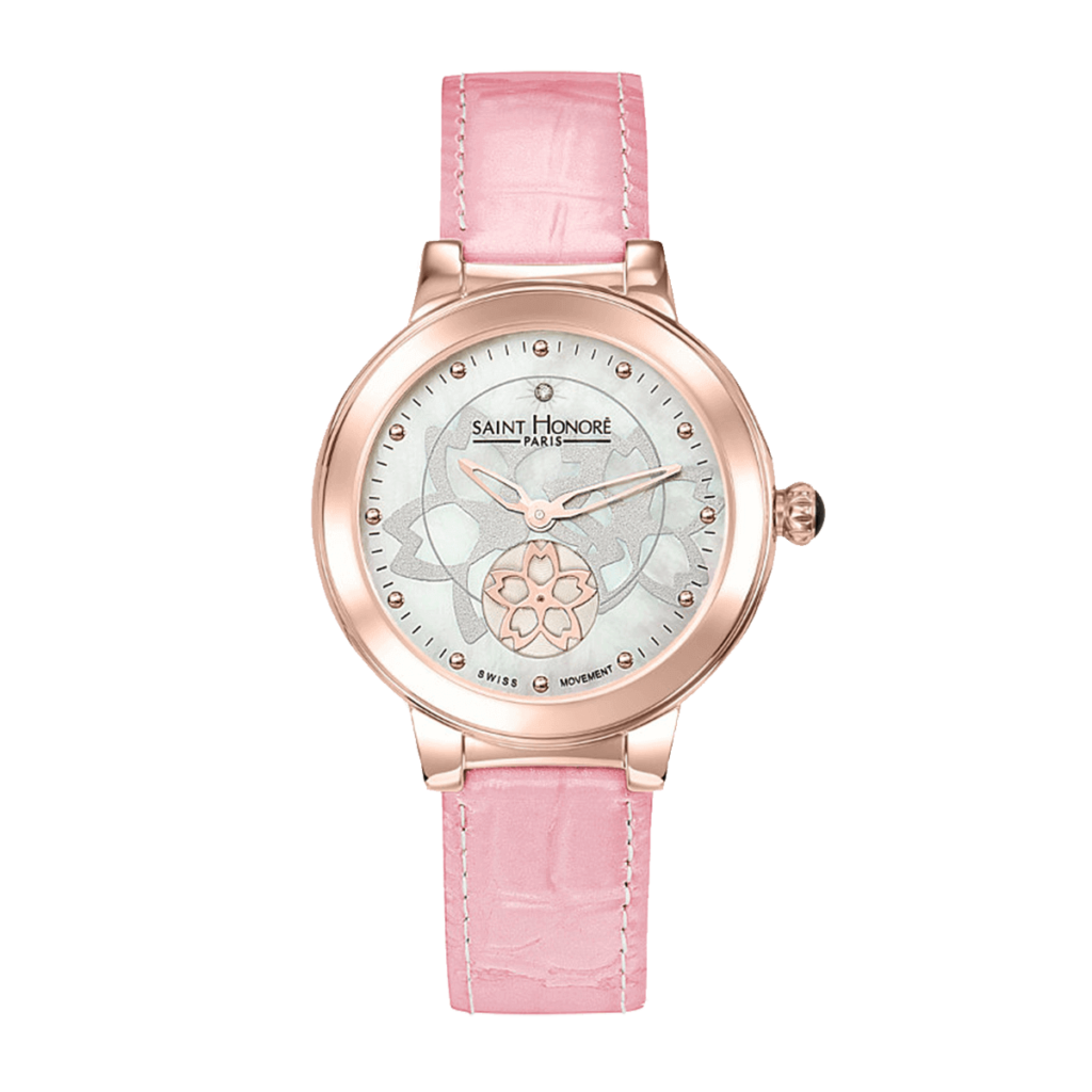LUTECIA Women's watch - Flower, mother-of-pearl & diamond dial, pink leather strap