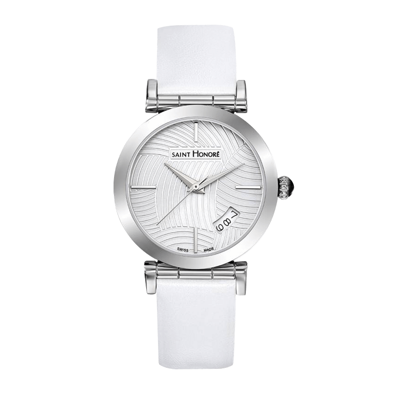OPERA Women's watch - Stainless steel case, lined dial, white leather strap