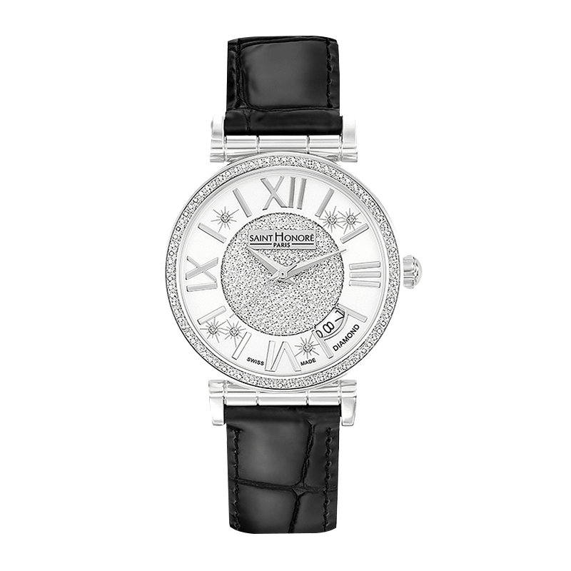 OPERA Women's watch - Diamond effect, diamonds dial, black leather strap