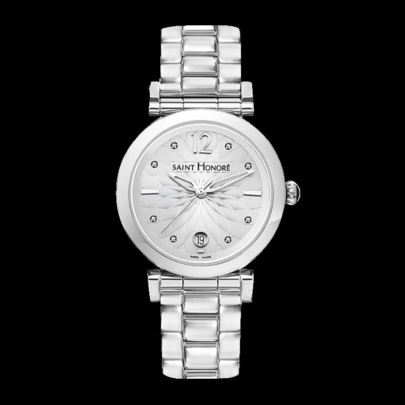 OPERA Montre femme - Cadran motif fleur, bracelet métal