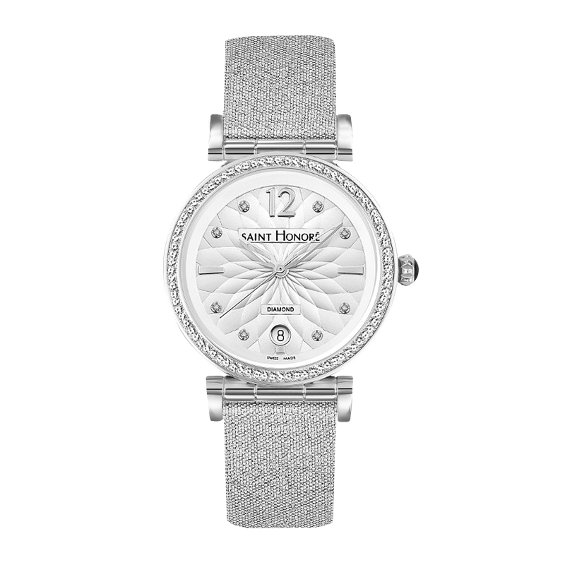 OPERA Women's watch - Flower pattern and diamonds dial, silver fabric strap