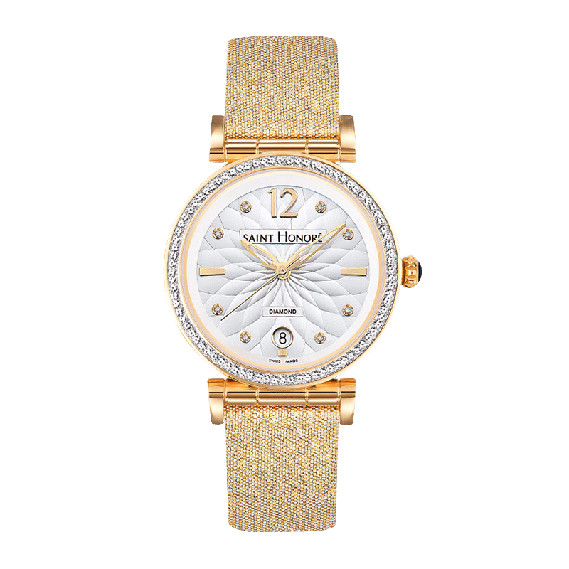 OPERA Women's watch - Flower pattern and diamonds dial, gold fabric strap
