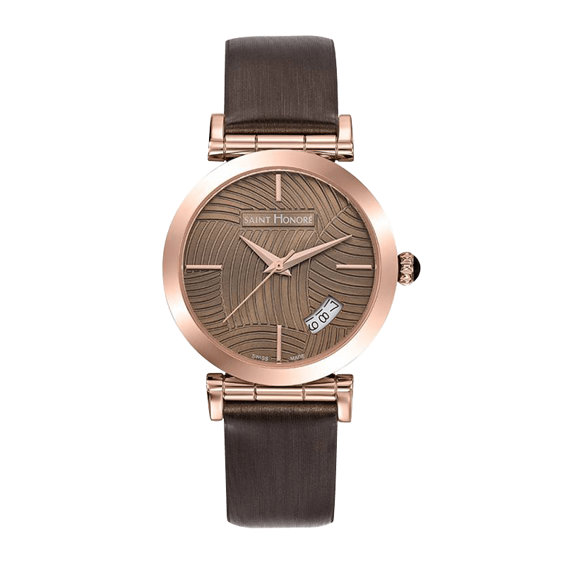 OPERA Women's watch - Rose gold finish case, brown lined dial, brown leather strap
