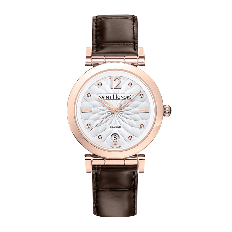 OPERA Women's watch - Rose gold finish case, flower pattern dial, brown leather strap