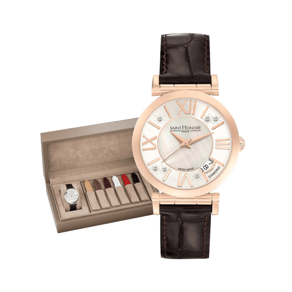 OPERA Women's watch set - Rose gold finish, mother-of-pearl & diamonds dial, winter leather straps
