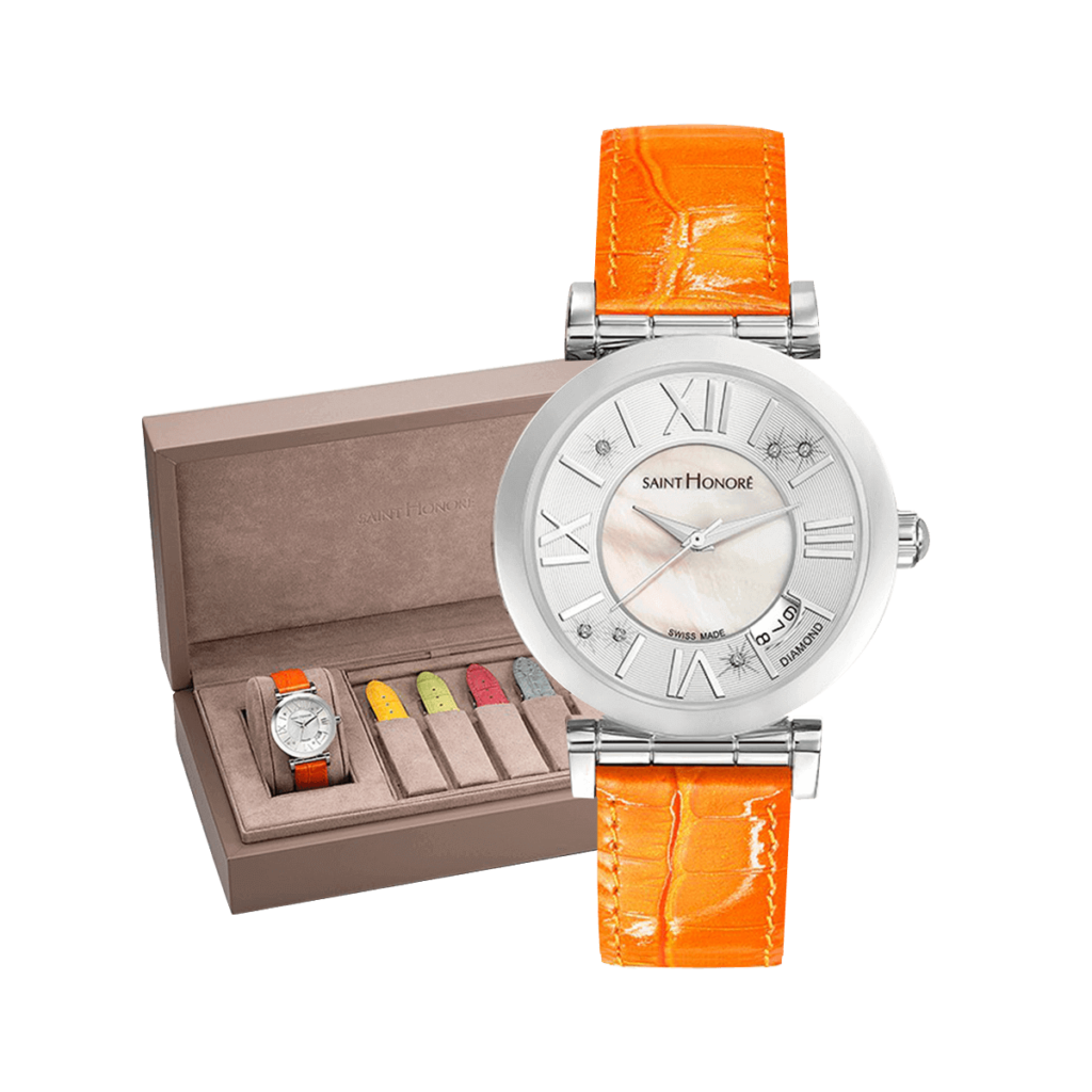 OPERA Women's watch set - Mother-of-pearl & diamonds dial, summer leather straps