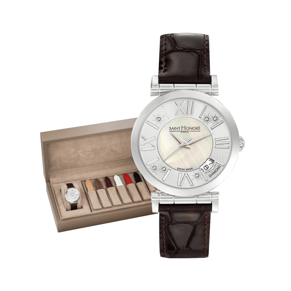OPERA Women's watch set - Mother-of-pearl & diamonds dial, winter leather straps