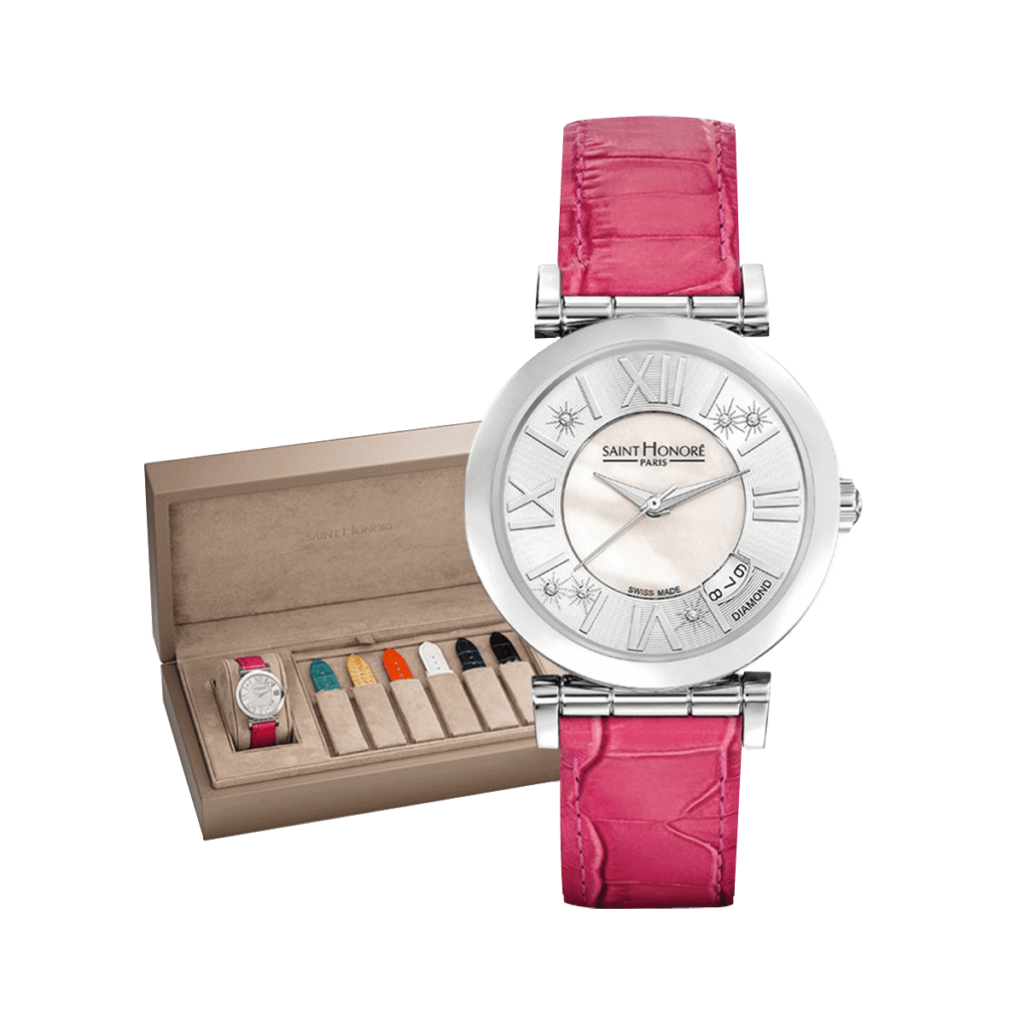 OPERA Women's watch set - Mother-of-pearl & diamonds dial, spring leather straps