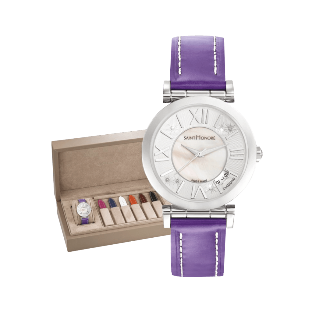 OPERA Women's watch set - Mother-of-pearl & diamonds dial, saddle stitches leather straps