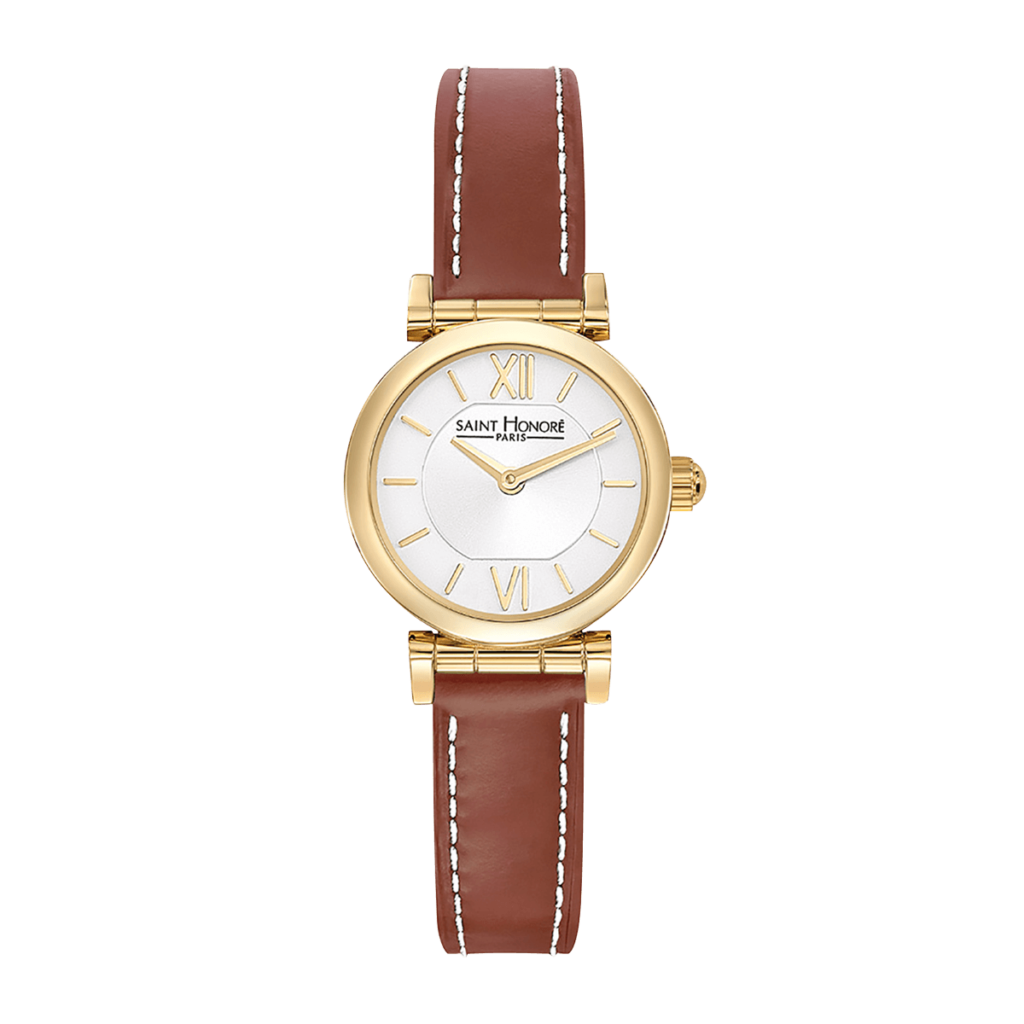 OPERA MINI Women's watch - Yellow gold finish case, brown leather strap