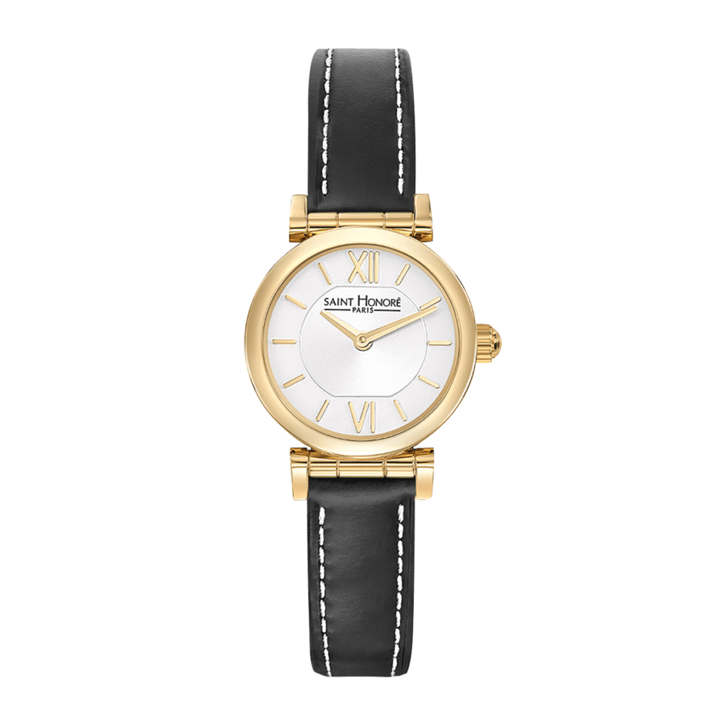 OPERA MINI Women's watch - Yellow gold finish case, black leather strap