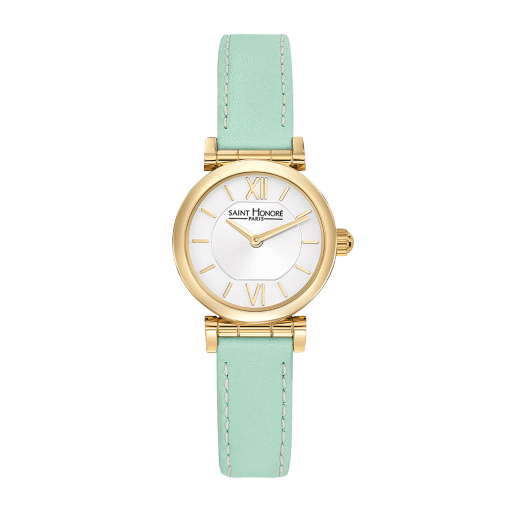OPERA MINI Women's watch - Yellow gold finish case, green leather strap