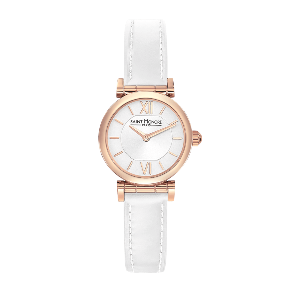 OPERA MINI Women's watch - Rose gold finish case, white leather strap
