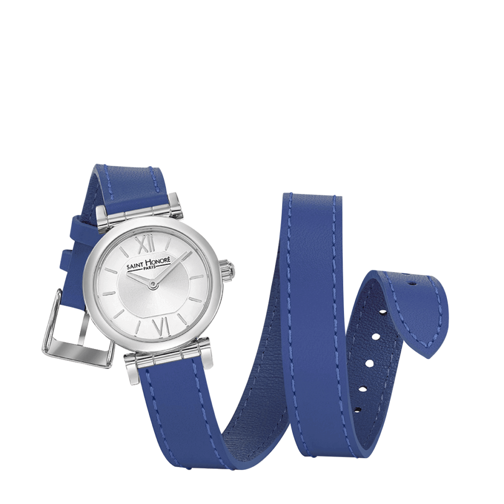 OPERA TWIST Women's watch - Stainless steel case, double loop blue leather strap