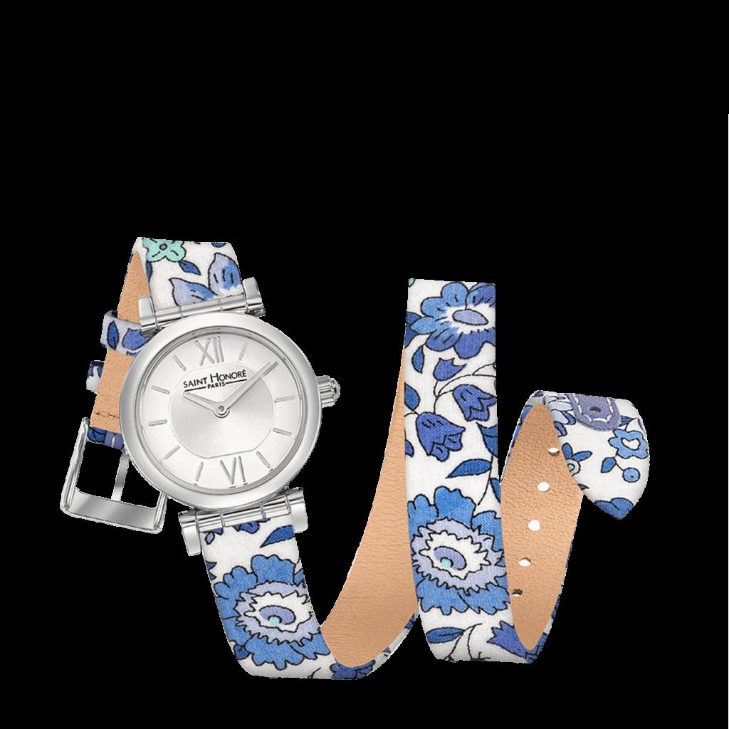 OPERA TWIST Montre femme - Acier, bracelet double tour motif liberty bleu
